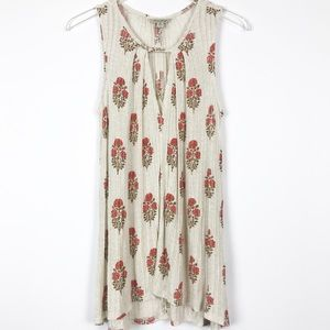 Lucky Brand | Sleeveless Floral Blouse w/ Keyhole